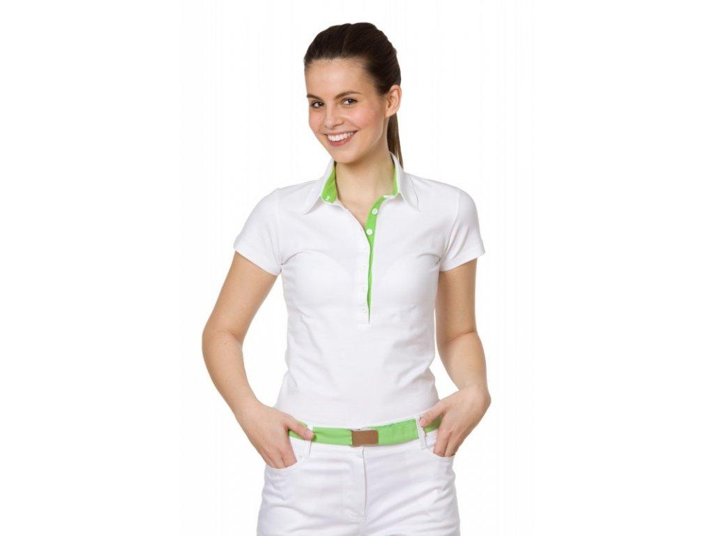 Triko SAŠA fresh (Dám. OH XL (102-110 cm), Barva Úplet - Bílá, Barva doplňku Úplet fresh - Růžová (na zakázku))