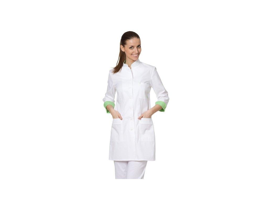 ZUZANA fresh dámský doktorský plášť (Barva Kepr odlehčený - Bílá, Barva doplňku Lyocell fresh - Zelená, Dám. OH Na zakázku - 54 (116 cm))