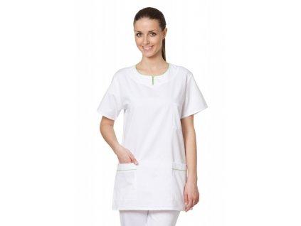D9 zdravotnická halena (Dám. OH Na zakázku - 58 (124 cm), Barva Kepr odlehčený - Bílá, Barva doplňku Lyocell fresh - Tyrkysová)