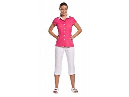 3/4 kalhoty PAVLA s elastanem (Dám. OB Na zakázku - 56 (128 cm), Barva Kepr odlehčený s elastanem - Bílá)