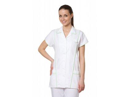 D6 zdravotnická halena (Dám. OH Na zakázku - 58 (124 cm), Barva Kepr odlehčený - Bílá, Barva doplňku Lyocell fresh - Tyrkysová)