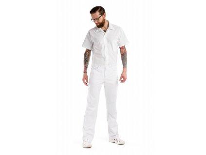 Kalhoty KAMIL s elastanem (Pán. OP Na zakázku - 64 (128-132 cm), Barva Kepr odlehčený s elastanem - Bílá)
