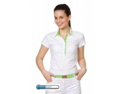 Triko JITKA fresh Coolmax® (Dám. OH XL (102-110 cm), Barva Coolmax fresh - Bílá, Barva doplňku Úplet fresh - Zelený (na zakázku))