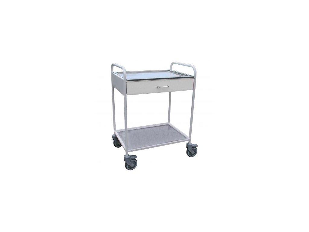 Nástrojový stolek lakovaný s madly, dvěma platy a zásuvkou