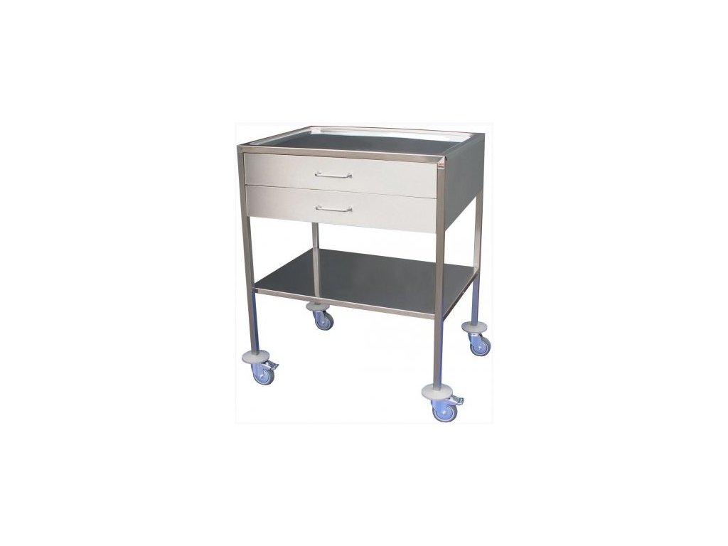 Nástrojový stolek nerezový se 2 platy a 2 zásuvkami