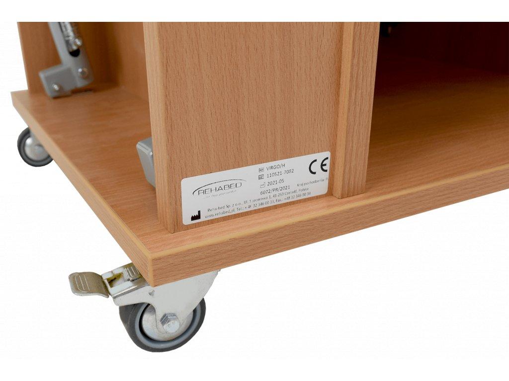 Noční stolek s výškově stavitelnou jídelní deskou