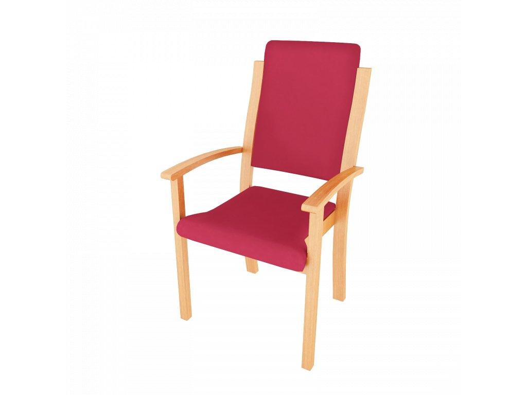 Židle s područkami, polstrovaná, s vysokým opěradlem