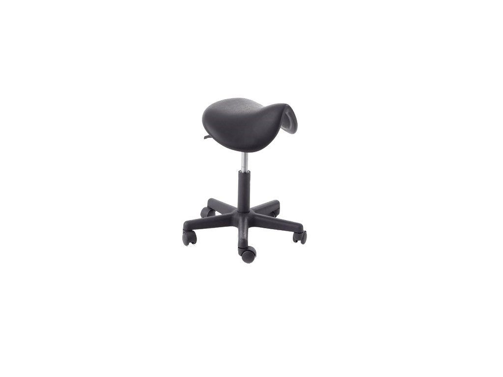 Pracovní stolička plastová se sedákem tvaru sedla