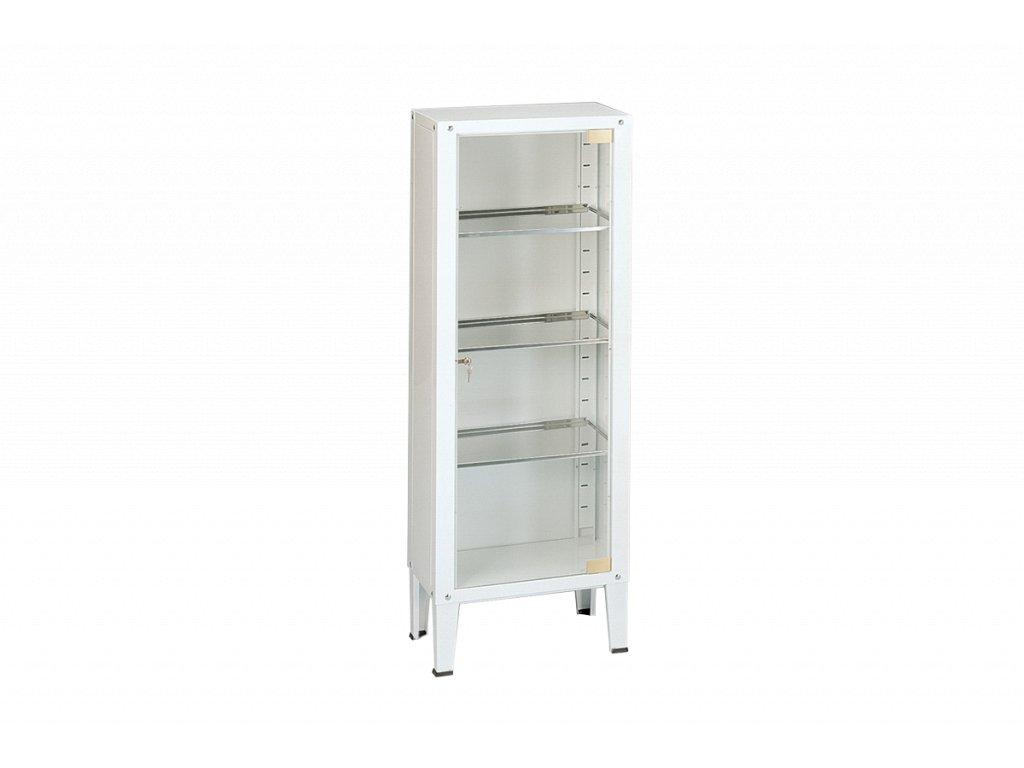 Jednoduchá skříň plechová se skleněnými dveřmi 36x53x144 cm