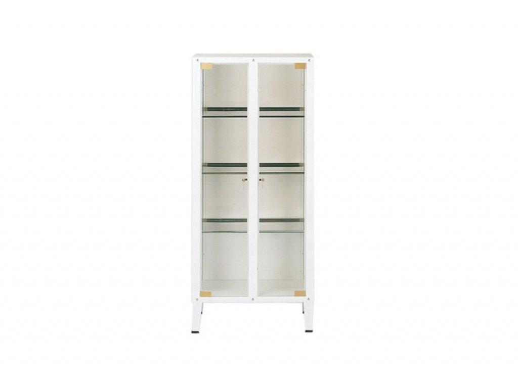 Skříň plechová se 2 skleněnými dveřmi 38x75x169 cm
