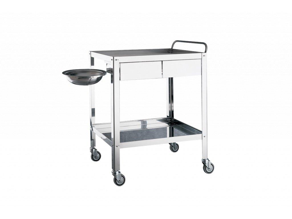Servírovací vozík nerezový 2 šuplíky a miskou