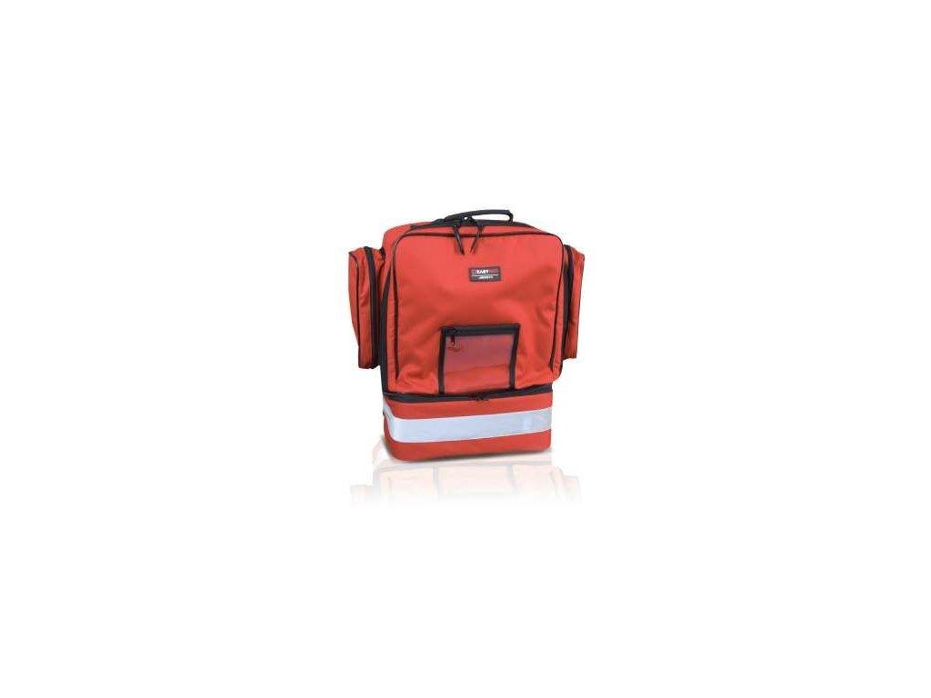 Záchranářský batoh, dvě boční kapsy a reflexní pruh