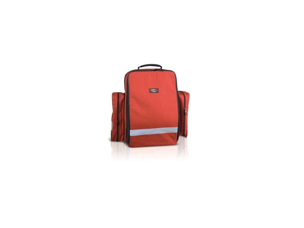 Záchranářský batoh, dvě spodní kapsy a reflexní pruh