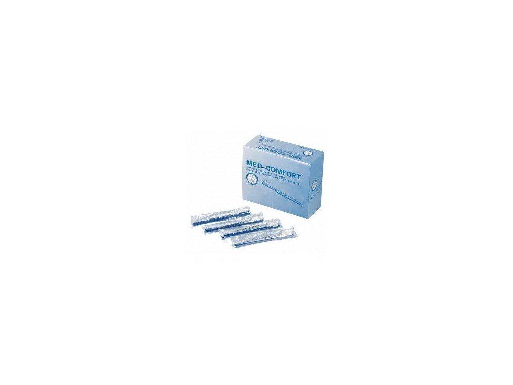 Jednorázový zubní kartáček MED COMFORT se zubním pudrem, balení 100 ks