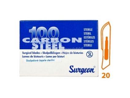 Čepelky SURGEON č.20 -BAL. (100ks)