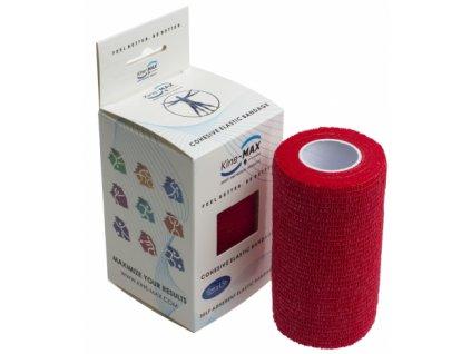 Kine-MAX Cohesive Elastic Bandage - Elastické samofixační obinadlo (kohezivní) 10cm x 4,5m červená