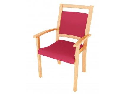 Židle s područkami, polstrovaná, s vysokým opěradlem, dřevěná kolejnice