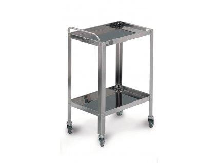 Víceúčelový vozík nerezový se 2 policemi 40x60x80 cm