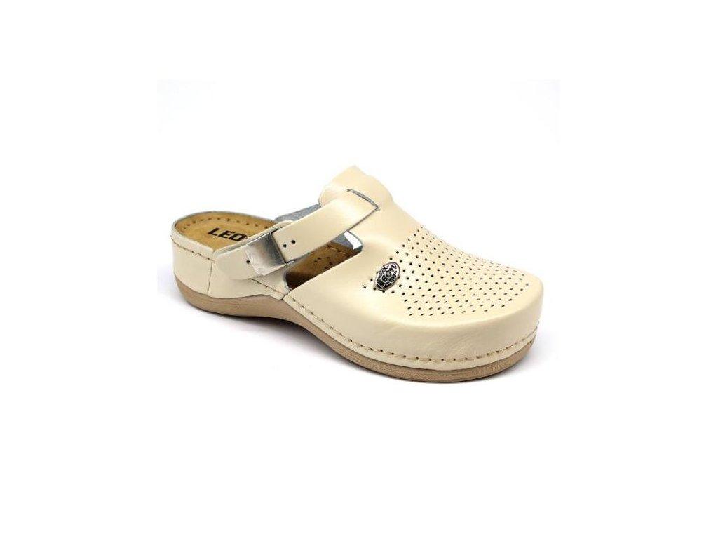 Leon 900 Damska pracovni celokozena zdravotni obuv bezova 01