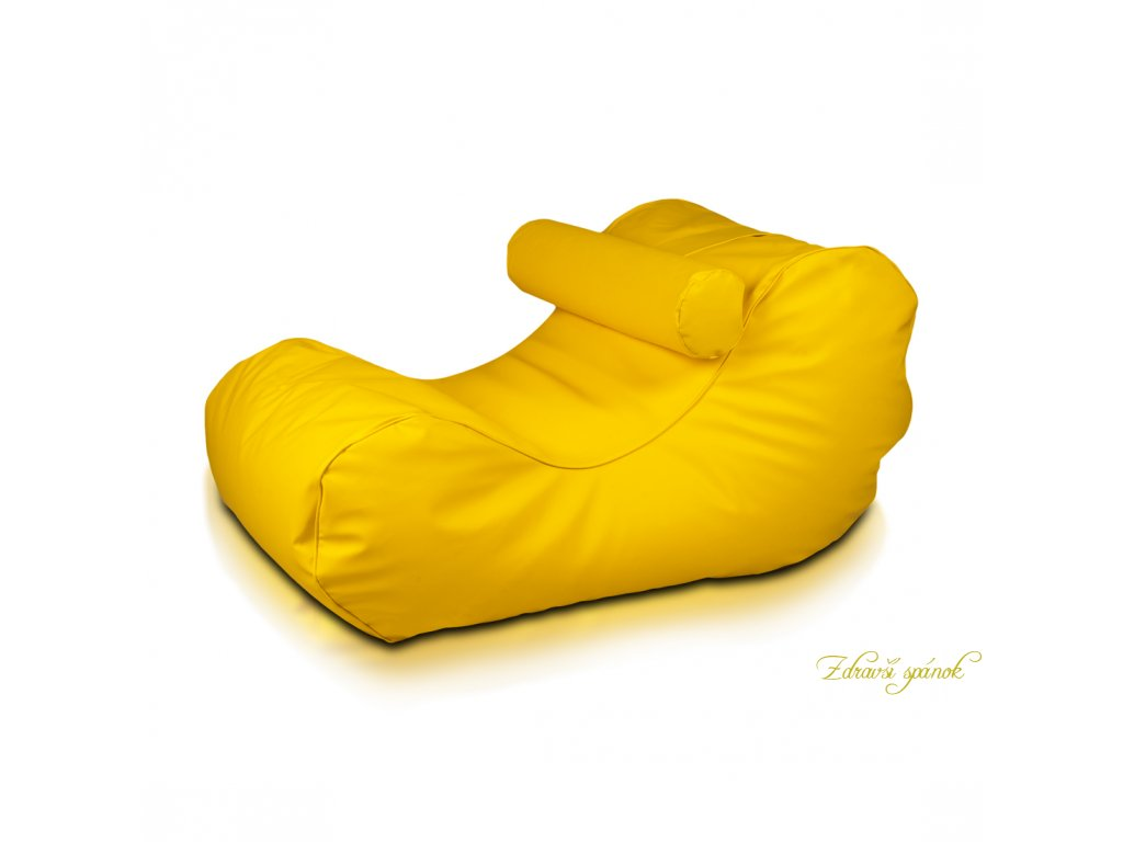 Sedací vak HOGAN 18 - Žltá - slnko (Ekokoža)