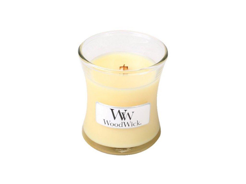 Woodwick Lemongrass & Lily vonná svíčka s dřevěným knotem 85g