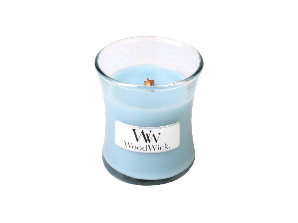 Woodwick Sea Salt & Cotton vonná svíčka s dřevěným knotem 85g