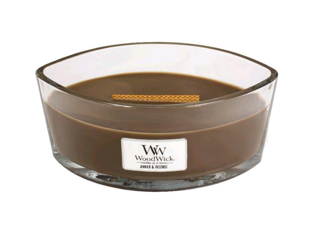 Woodwick Amber & Incense vonná svíčka loď s dřevěným knotem 453g