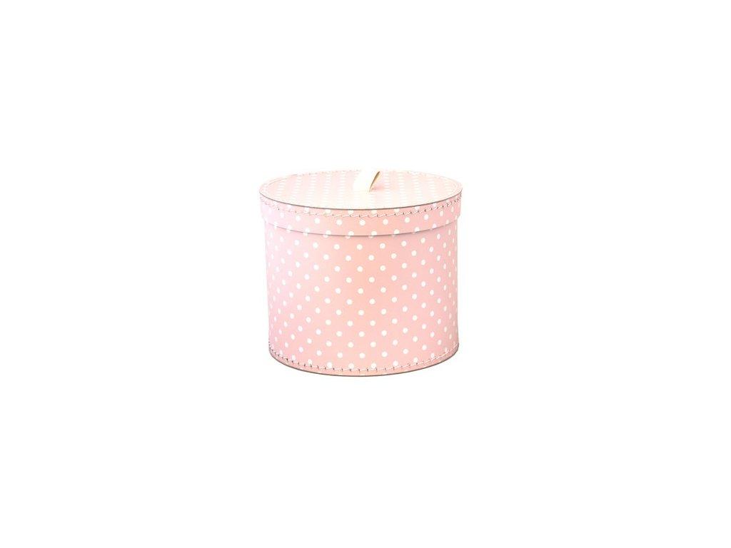 Dárková krabice kulatá světle růžová, bílý puntík 30 cm