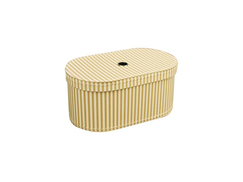 Dárková krabice oválná přírodní bílý proužek 35 cm