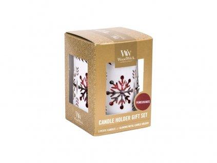 Woodwick dárkový set White Snowflake Pomegranate svíčka petite 3ks + svícen