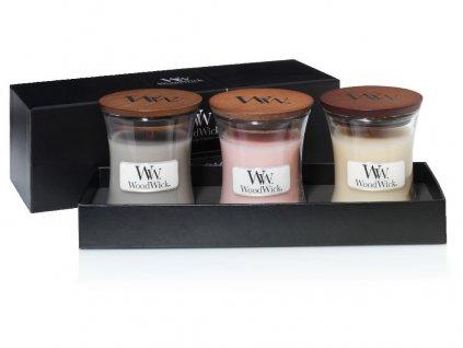 Woodwick dárkový set Fireside, Coastal, Vanilla Bean vonné svíčky malé 3ks