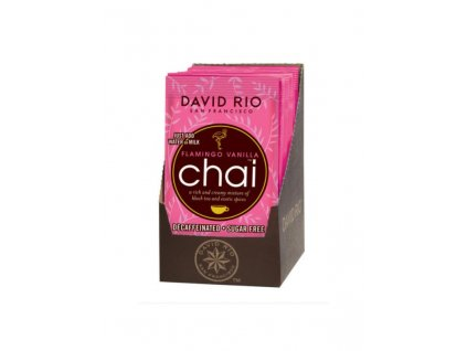 david rio flamingo vanilla sugarfree chai sacky display 12x28g