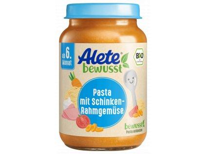 BIO Alete zelenina s těstovinami a vepřovou šunkou z kýty a plece 190 g