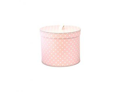 Dárková krabice kulatá světle růžová, bílý puntík 20 cm