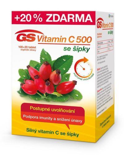 Green Swan Pharmaceuticals GS Vitamin C 500 + šípky 100 tbl. + 20 tbl. ZDARMA
