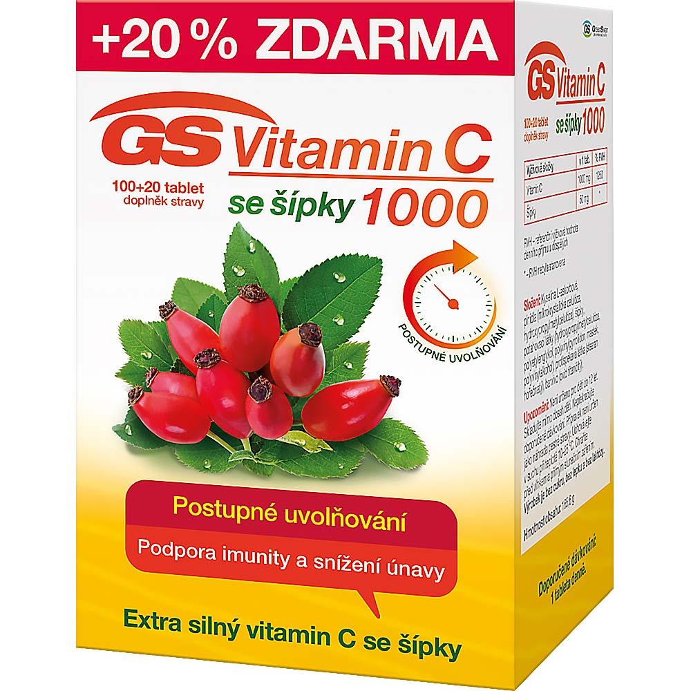 Green Swan Pharmaceuticals GS Vitamin C 1000 + šípky 100 tbl. + 20 tbl. ZDARMA