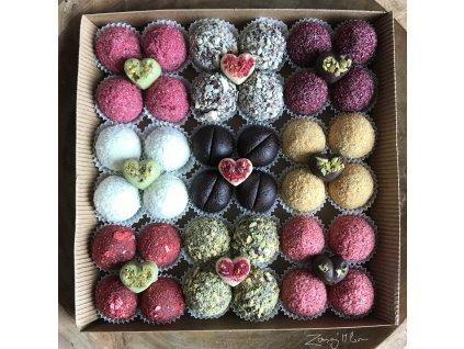Dárková krabička proteinových a ovocných kuliček bez lepku 36ks