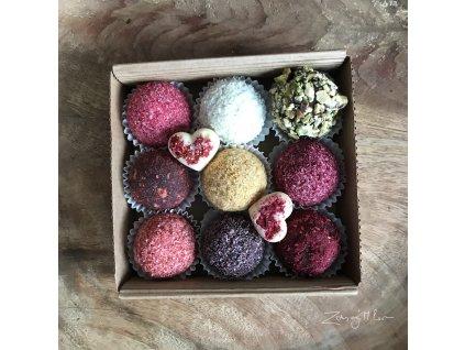 Dárková krabička proteinových a ovocných kuliček 9ks