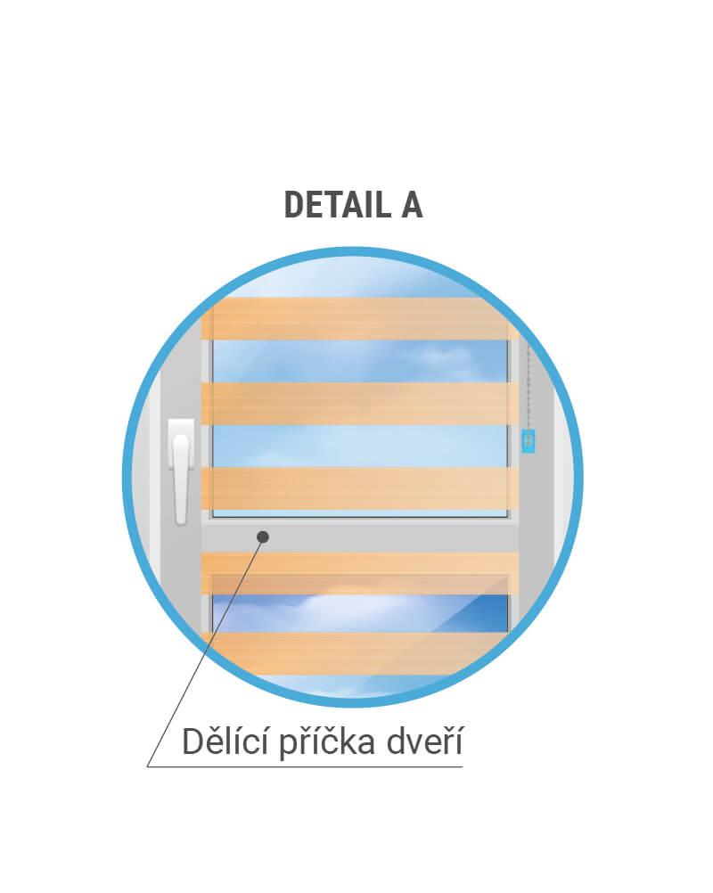Dělící příčka na bakonových dveřích - Detail
