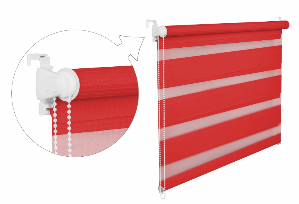 Roleta DEN A NOC / červená / BH 34 Barva mechanizmu: bílá, Výška: 150, Šířka: 83