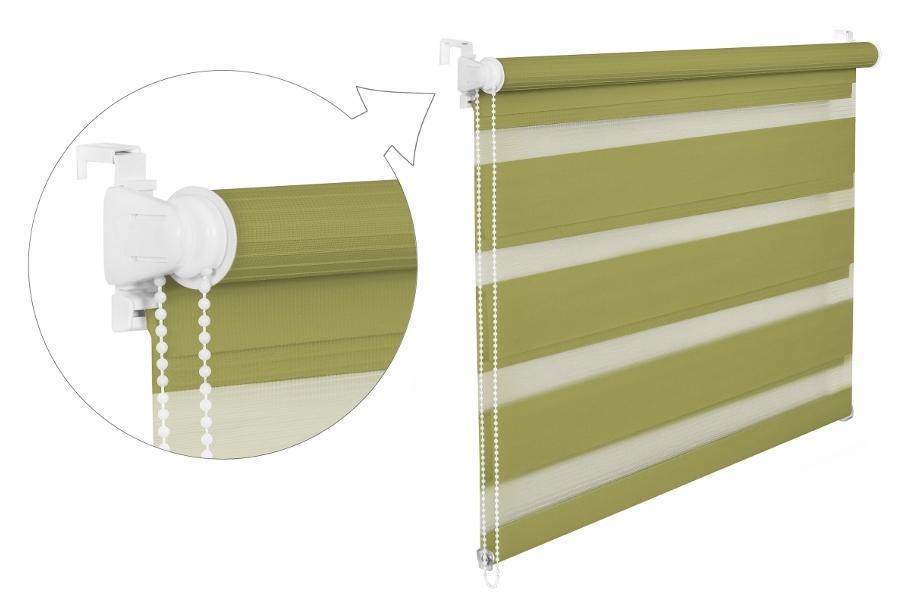 Roleta DEN A NOC / olivová / BH 1206 Barva mechanizmu: bílá, Výška: 150, Šířka: 82