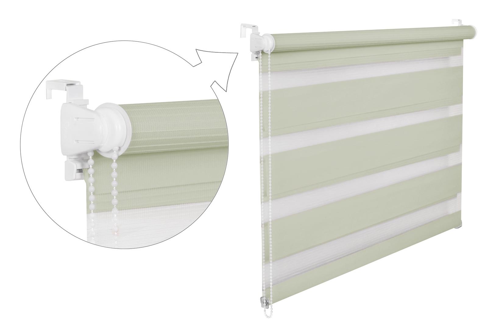 Roleta DEN A NOC / pistáciová / BH 03 Barva mechanizmu: bílá, Výška: 150, Šířka: 82
