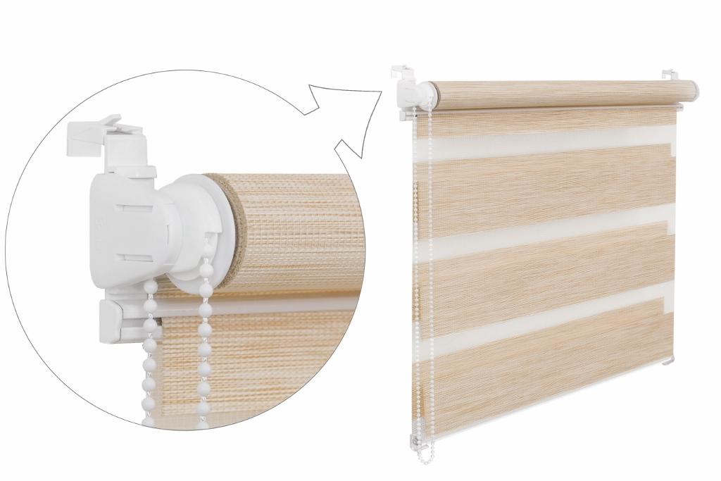 Roleta DEN A NOC / PREMIUM / krémový melír / BH 13 Barva ovládacího mechanizmu: bílá, Výška rolety: 220, Šířka rolety: 75