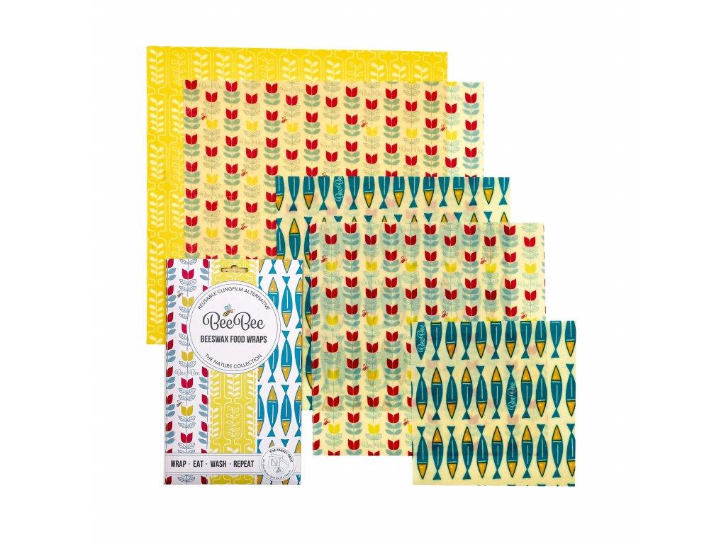 Látkový voskovaný ubrousek BeeBee Wrap - THE FAMILY PACK