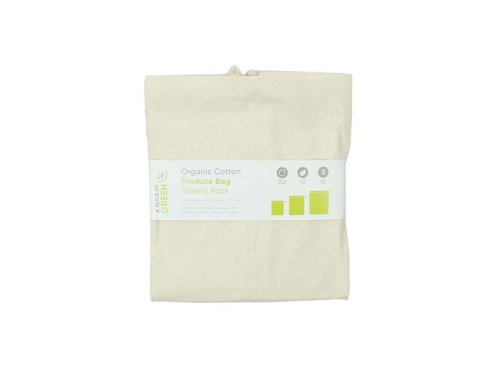 Sada 3ks plátěných pytlíků z BIObavlny A Slice of Green