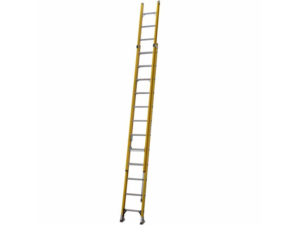 Sklolaminátový výsuvný žebřík s lanem 3,6m Werner