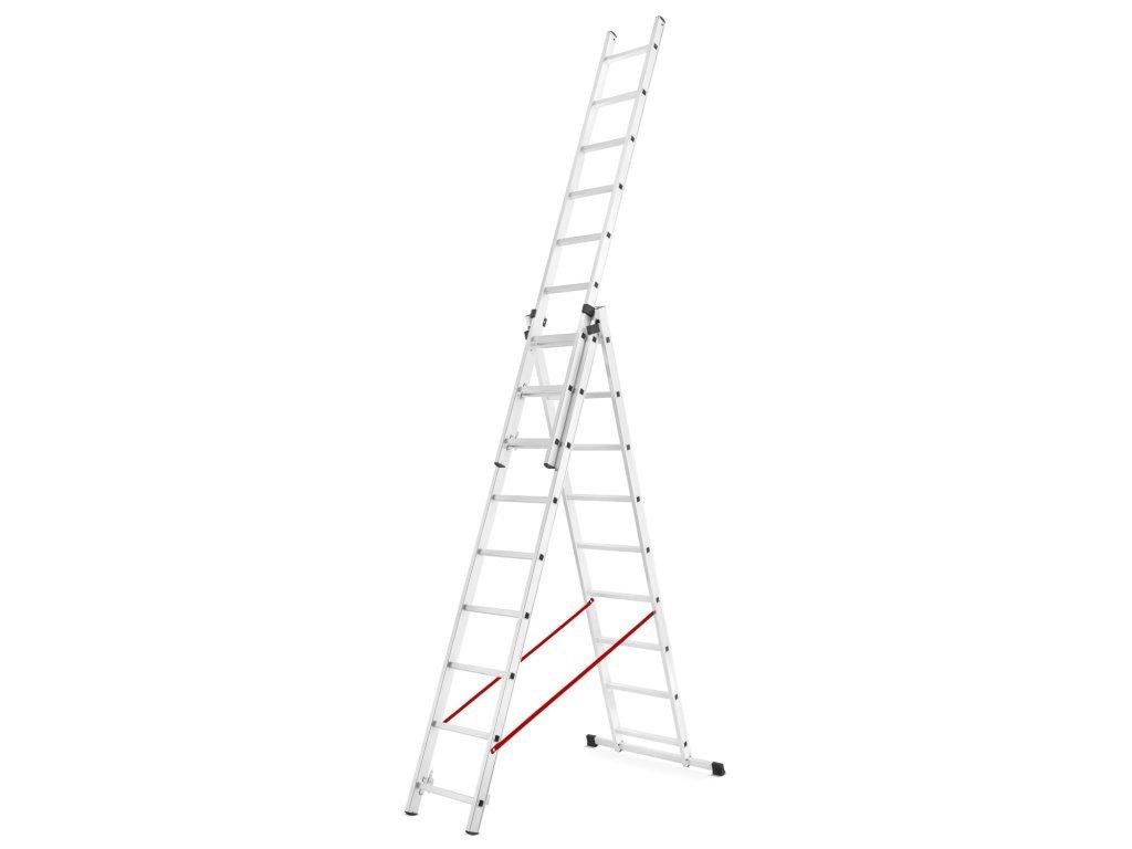 Třídílný žebřík 3x9 příček PROFI hliníkový, pracovní výška 7,1m