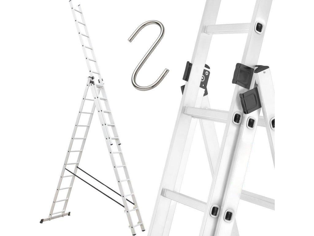 Třídílný žebřík 3x11 příček PROFI hliníkový, pracovní výška 8,5m