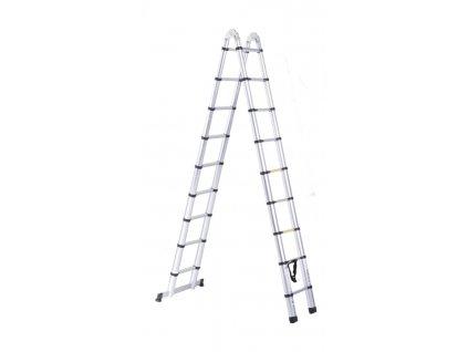 Teleskopický žebřík - štafle PROFI 2x9 příček 5,6m