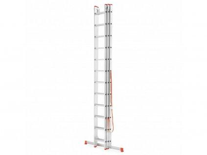 Třídílný žebřík 3x10 příček PROFI hliníkový, pracovní výška 7,2m, SCHWARTZMANN